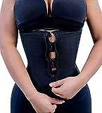 YIANNA Women Zip&Hook Latex Waist Training Corsets/Cincher Sport Girdle Underbust Hourglass Body Shaper, YA2219-Black-XL