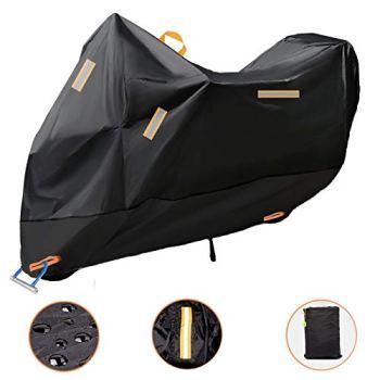 Baogaier Funda para Moto 300D Espesado 265x105x125cm Funda Protector Cubierta de Motocicleta Impermeable A Prueba de UV Polvo Viento con Banda Reflectante Agujero de Seguridad Bolsa de Viaje, XXXL