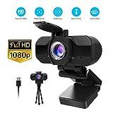 Webcam 1080P avec Microphone et couvercle de confidentialité, caméra Web USB...