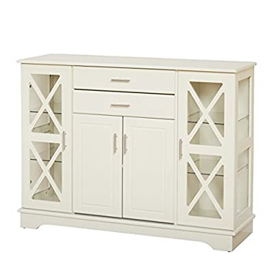 """Practical dimensions: this dining buffet has been designed with easy to fit dimensions of 47.25"""" x 15.75"""" x 35.4""""H, and Weighs 110 lbs. With an easy assembly required. Durable Construction: this buffet cabinet is made from high-quality MDF materials ..."""