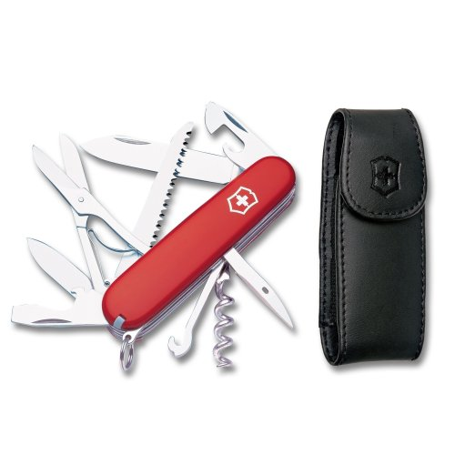 Victorinox Swiss Army Huntsman Pocket Knife w/ Pouch, Red , 91mm