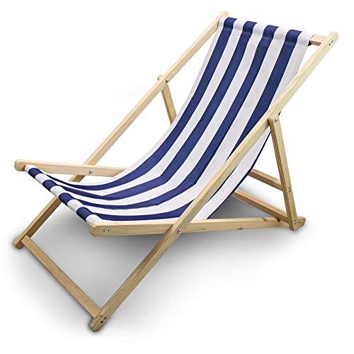 BITUXX Liegestuhl Sonnenliege Gartenliege Holzliege Strandliegestuhl Holz Klappbar (Blau/Weiß Gestreift)