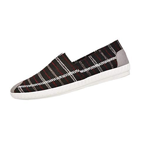 Zapatillas Lona Hombre Planas Casual cómodos Ligero Transpirables Alpargatas Hombre Moda Antideslizante Aire Libre Zapatillas Hombre Verano 2021 con Rayas Estampado Zapatos para Caminar Correr