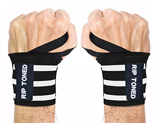 Rip Toned Wrist Wraps by 18' Professional Grade with Thumb Loops - Wrist Support Braces - Men & Women - Weight Lifting, Crossfit, Powerlifting, Strength Training - Bonus eBook (Black/White - Stiff)