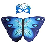 Butterfly Wings Halloween Cosutme Mask Shawl for Girls Pretend Play Party Favors (Blue)