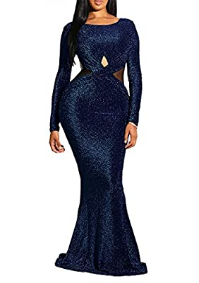 Material: sparkle fabric and 30%-50% polyester Elegant sparkling seguined hollow out mesh splice slim fit floor length fish tail mesh dress Occasion: party, night club, bridesmaid, cocktail, prom, evening, wedding and formal Please see size specifica...