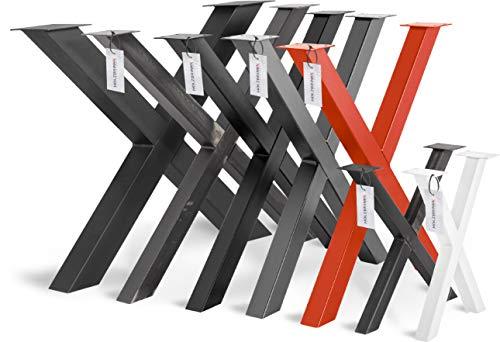 HOLZBRINK Tischkufen X-Form aus Vierkantprofilen 40x40 mm, x-förmiges Tischgestell 40x43 cm, Tiefschwarz, HLT-03-F-BB-9005