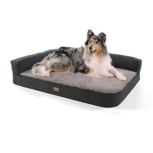 Brunolie Odin - Divano Grande per Cani, Lavabile, Ortopedico e Antiscivolo, Cuscino per Cani con Schienale Rimovibile, Taglia L (120 x 80 x 12 cm), Grigio