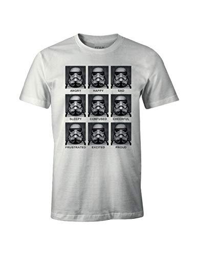 Star Wars Herren Trooper Emotions T-Shirt, weiß, (Herstellergröße: X-Large)