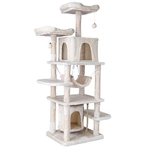 pedy Árbol Grande para Gatos, 170cm, Diseño Anticaídas, con Robusto Árbol Trepador, con Playhouse, Hamaca, Cueva, Pelota, para Gatitos, Gatos y Mascotas (Beige)