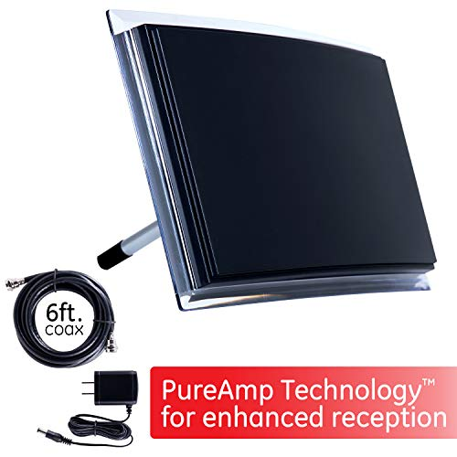 GE Indoor TV Antenna, Amplified Long Range HD 4K 1080P VHF UHF, Extendable Dipole Rabbit Ears, Amplifier Signal Booster, Digital HDTV Antenna, Smart TV Compatible, 6Ft Coaxial Cable, 34134