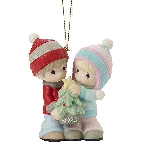 Precious Moments 201004 Our First Christmas Together 2020 Dated Couple Bisque Porcelain Ornament, Multicolored