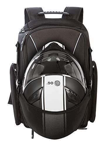 OG Online&Go Mochila Moto GO Negra Impermeable 20L, Bolsa Porta-Cascos Motorista, Correa Casco, Ciclismo, Hombre, Portátil, Reflectante, Bolsillo Antirrobo