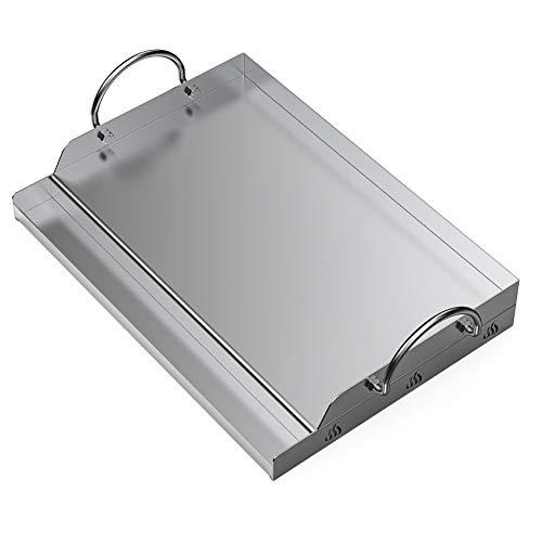Onlyfire piastra BBQ universale plancha in Acciaio inossidabile per Barbecue a carbonella, a Gas e altri, rettangolare, 51 x 32 x 12,4 cm
