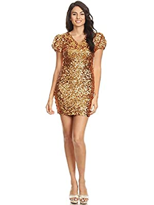 A TIGHT FIT BODY CONSCIOUS NIGHTCLUB DRESS. A short sleeve all-over sequin dress with v neck and back. Material stretches slightly for a sexy bodycon fit. LINED FOR A COMFORTABLE OUTFIT. This dress features a lining to reduce rubbing and protect your...