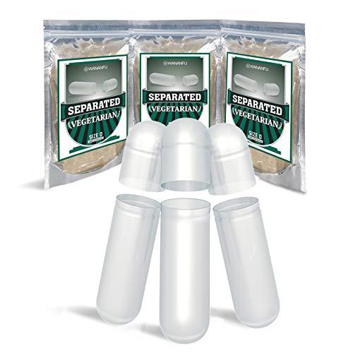 Wananfu Capsule Vuote Separate Taglia 0, Vegetali, 1000 Pezzi, Trasparente, Compatibile con macchina per il riempimento di capsule taglia 0