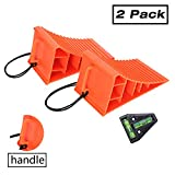 Homeon Wheels RV Camper Large Wheel Chocks with Handle and Rope for Safety-Car Chocks, Tire Chocks, Trailer Solid Heavy Duty Wheel Chocks-2 Packs.(Red)