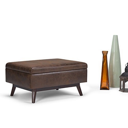 SIMPLIHOME Owen 34 inch Wide Rectangle Coffee Table Lift Top Storage Ottoman, Cocktail Footrest Stool in Upholstered Distressed Chestnut Brown Faux Air Leather, Mid Century Modern, Living Room