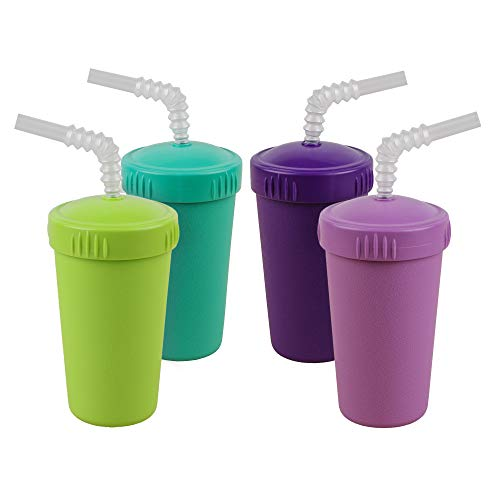 Re-Play Made in USA 4pk Straw Cups with Bendable Straw in Aqua, Purple, Lime Green and Amethyst | Made from Eco Friendly Heavyweight Recycled Milk Jugs - Virtually Indestructible (Mermaid+)