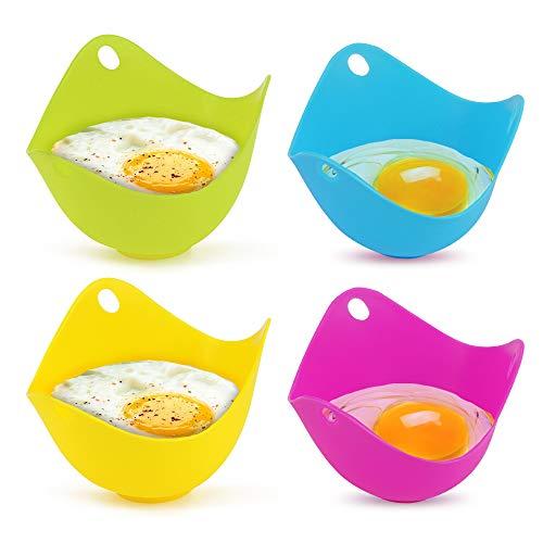Yidenguk Set di 4 stampi in silicone per cuocere uova in camicia, adatti per padella, vaporiera, forno a microonde