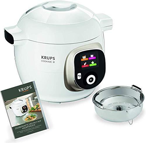 Krups Cook4Me+ Multikocher CZ7101 | inkl. Rezeptbuch | 6L Kapazität | Elektrischer Schnellkochtopf | 150 Vorprogrammierte Rezepte | Intuitives LCD-Display | 1600W | Dampfgaren | Anbraten | weiß