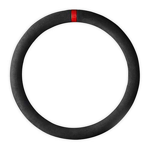 黒いスエードの車ステアリングホイール・カバー反スリップ・ステアリングは、適当な37 - 38 cmの自動車装飾...