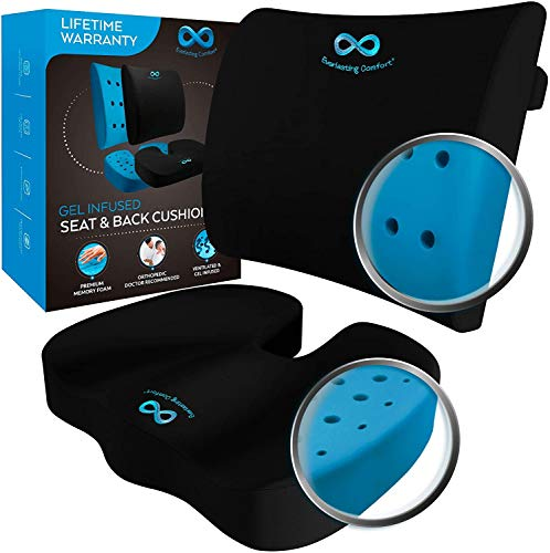 Everlasting Comfort Memory Foam Seat Cushion and Lumbar Back Cushion Combo - Gel Infused and Ventilated - Ergonomic Design for Coccyx and Tailbone - Perfect for Office Chairs and Car Seats