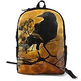 Mochila multiusos para niños y niñas, con diseño de luna, color negro, con correas ajustables para el hombro, para colegio, universidad, luna llena negra, Crow Raven Bird