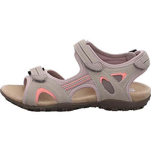 Geox Sandal STREL D9225B Mujer Sandalias de Vestir,Senderismo Sandalias,fémina Sandalia para Exterior,Sándalo Deportivo,Velcro,Cierre de Velcro Triple,Gris,36 EU
