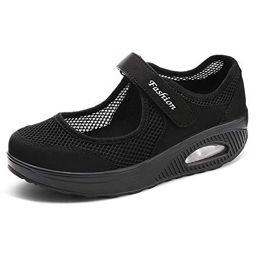 Sandalias para Mujer Malla Merceditas Plataforma Ligero Zapatillas Sneaker Mary Jane Casual Zapatos de Deporte Mocasines Negros Verano A-Negro-2 EU38