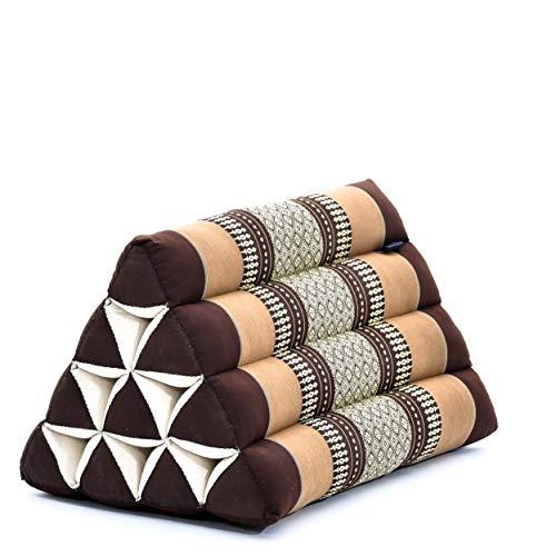Leewadee Cuscino Triangolare thailandese: poggiatesta kapok Ecologico, Schienale Confortevole per la Lettura, Cuscino Fatto a Mano, 50 x 33 x 33 cm, Marrone