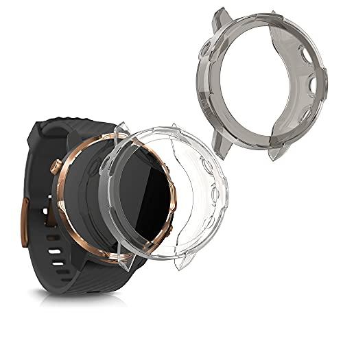kwmobile 2X Sport Schutzhülle kompatibel mit Suunto 7 Smartwatch - Hülle Silikon klar ohne Tracker Schwarz Transparent