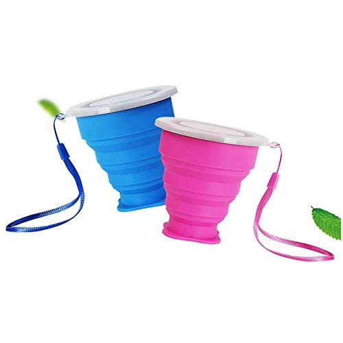 Ruesious Lot 2 Tasse de Voyage Camping Mug Pliable avec Couvercle Tasse à...