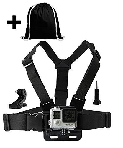 LONDON FAB Compatibile con GoPro e Tutte Le Action Cam, Imbracatura Action Camera (Imbracatura al Petto + Borsa con Coulisse Nera)
