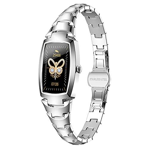 Smartwatch Damen,Phipuds Fitness Armbanduhr Tracker Wasserdicht Smart Watch damen,Touchscreen Fitness Uhr für Damen mit Aktivitätstracker Herzfrequenz Schlafmonitor Schrittzähler für iOS Android Handy