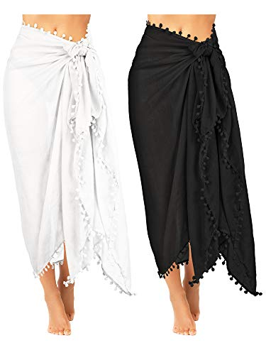 2 Pieces Women Beach Batik Long Sarong Swimsuit Cover up Wrap Pareo with Tassel for Women Girls (Black, White)