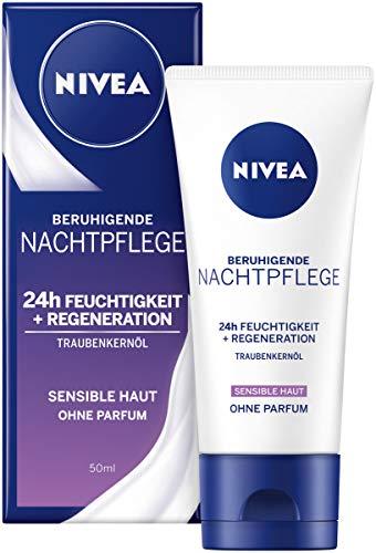 NIVEA Essentials Nachtpflege im 1er Pack (1 x 50 ml), parfümfreie Nachtcreme für sensible Haut, Feuchtigkeitscreme mit Traubenkernöl & Süßholzextrakt