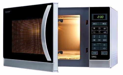 Sharp R742INW 2-in-1 Mikrowelle mit Grill / 25 L / 900 W / 1000 W Grill / LED-Display / 8 Automatikprogramme / Gewichtgesteuertes Auftauen / Kindersicherung / Energiesparmodus / hoher Rost / silber