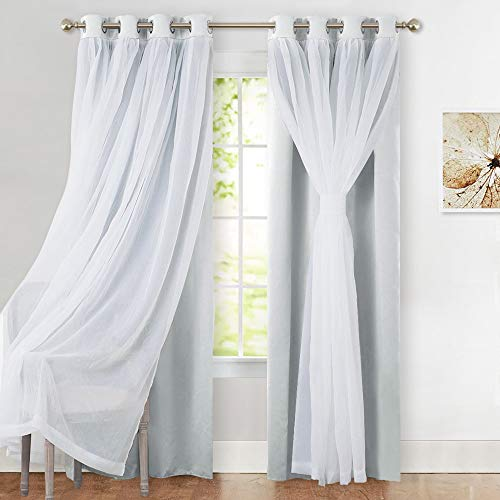 PONY DANCE Curtains for Living Room - Crushed Sheer Voile x Light...
