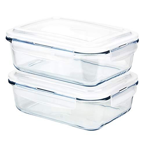 Grizzly Contenitore per Alimenti in Vetro Set da 2 Capacit 1520 ml Rettangolare Adatti per Forno, Frigo e Congelatore Ermetico, Anti Perdite Lavabile in Lavastoviglie, senza BPA