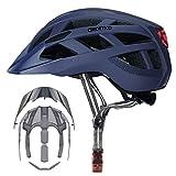 Adult-Men-Women Bike Helmet with Light - Mountain Road Bicycle Helmet with Replacement Pads & Detachable Visor