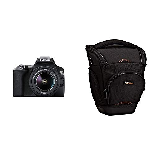 Canon EOS 250D (24,1 Mp, display 7,7 cm (3 pollici), sensore APS-C, 4K, Full HD, DIGIC 8, WLAN, Bluetooth), EF-S 18-55 mm f/3.5-5.6 III & Amazon Basics - Custodia per macchine fotografiche reflex