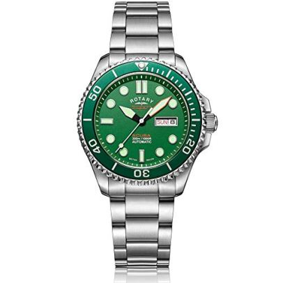 Rotary Super 7 Scuba 'Hulk' Automatic Green Dial Silver Stainless Steel Bracelet Men's Watch S7S003B