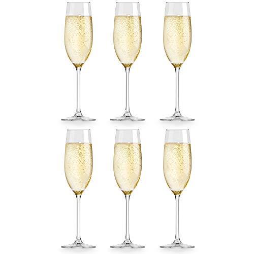 Libbey Bicchiere da Champagne Atna - 210 ml / 21 cl - Set di 6 pezzi - Design elegante - Alta qualità - Lavabile in lavastoviglie