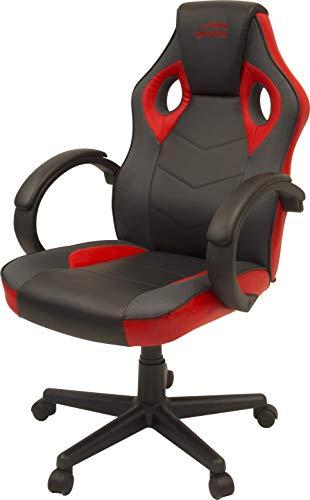 Speedlink YARU Gaming Chair Schreibtischstuhl, Leder, Schwarz-rot, 61 x 57 x 111-123cm (B × T × H)