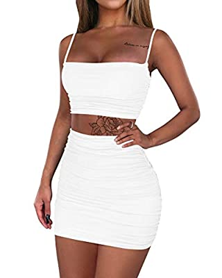 Feature: ruched skirt, adjustable tops, high waist,bodycon,mini sexy 2 piece outfit dress Material:polyester and spandex,The fabric is soft ,super comfortable and very stretchy,Double layer The back of the crop top and skirt are ruched and adjustable...