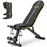 Weight Bench Adjustable, Figolo Workout Bench with Thicken Premium Steel Widen Seat for Home Gym Strength Training Press Bench with Easy Installation - Black