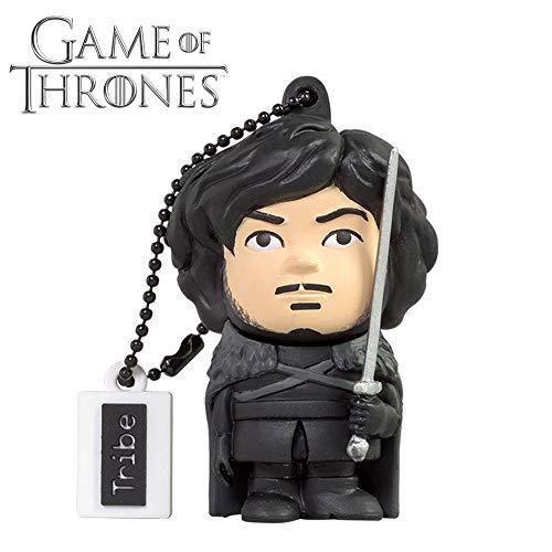 Tribe Game of Thrones (Juego de Tronos) Jon Snow - Memoria USB 2.0 de 16 GB Pendrive Flash Drive de Goma con Llavero, Color Negro