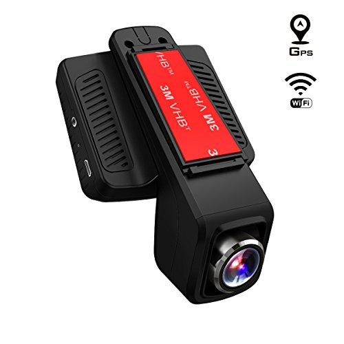 TOGUARD Telecamera per Auto GPS WiFi, Auto Dash Cam, Full HD 1080P 2,45 Pollici LCD Dash Cam con Obiettivo Regolabile Grandangolo di 170°, con Un Caricabatterie d'Automobile con Modulo GPS