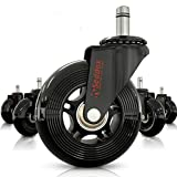 Professional Office Chair Wheels 10mm Stem - FIT IKEA Chairs ONLY - 3'' Replacement Rubber Chair Casters - Best Protection for Your Hardwood Floors Without Any Chair MATS - Black